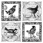 Four Little Songbirds Red Rubber Stamp