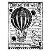 Around The World Red Rubber Stamp