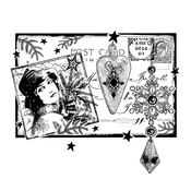 Postcard For Christmas Red Rubber Stamp