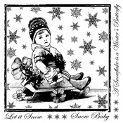Little Snow Baby Red Rubber Stamp