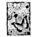 Steampunk Butterfly Red Rubber Stamp