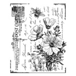 Floral Postcard Red Rubber Stamp