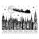 Jingle Bells Rooftops Red Rubber Stamp
