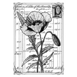 Pretty Poppy Red Rubber Stamp