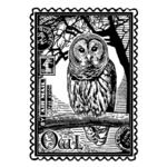 Airmail Owl Red Rubber Stamp