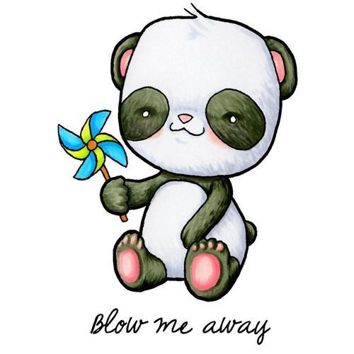 Pinwheel Panda Clear Stamp - Some Odd Girl