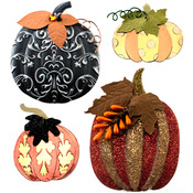 Metallic Pumpkin Stickers - Jolees