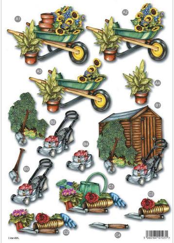Gardening Die Cut Decoupage Sheet