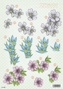 Daisy & Snowdrop Flowers Die Cut 989 Decoupage Sheet