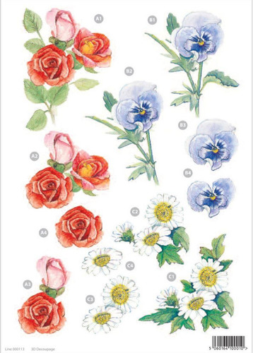 Rose & Pansy Floral Die Cut 119 Decoupage Sheet