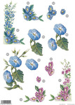 Morning Glories & Daisy Floral Die Cut 125 Decoupage Sheet