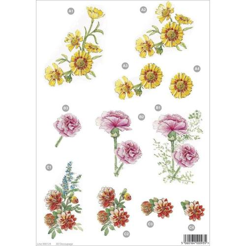 Pink Carnations And More Die-Cut Decoupage Sheet