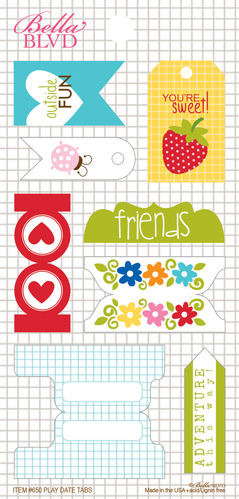 Play Date Tabs Cardstock Stickers - Bella Blvd