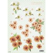 Day Lilies & Dahlia Die - Cut Decoupage Sheet
