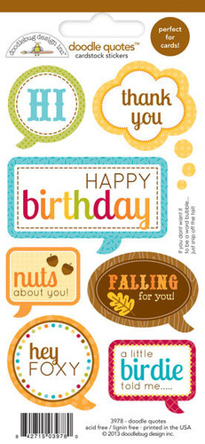 Happy Harvest Doodle Quotes Cardstock Stickers - Doodlebug
