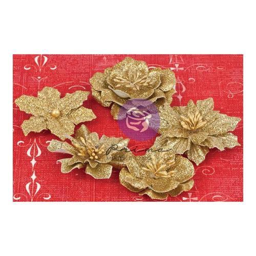 Holiday Jubilee Gold Glitter Flowers - Prima