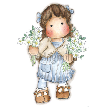 Tilda With Winter Flowers Cling Stamp - Magnolia
