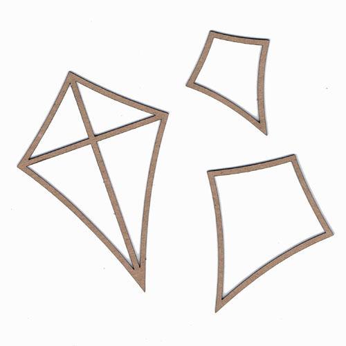Summer Kites Set Of Three Laser Cut Chipboard - Leaky Shed Studio