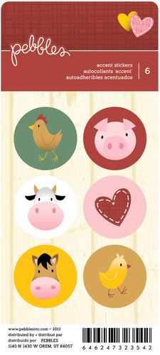 Farm Animal Rounds Stickers - Pebbles