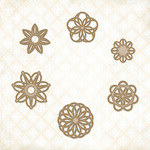 Doodle Flowers Chipboard Shapes - Blue Fern Studios
