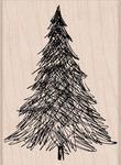 Pen & Ink Christmas Tree Wood Stamp