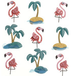 Flamingo Palm Tree Repeat Stickers - Jolee's Boutique