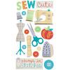 Cute Stitches Sewing Dimensional Stickers - Sticko