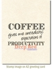 Coffee Productivity Rubber Stamp - Deep Red Stamps