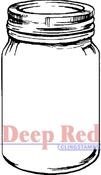 Mason Jar Rubber Stamp - Deep Red Stamps