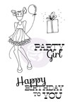 Party Girl Cling Stamp Set - Mixed Media Doll - Prima