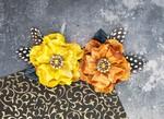 Plume Saffron Orange Fabric Flowers - Prima