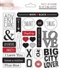Black & White Puffy Word Stickers - Glitz