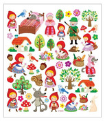 Red Riding Hood Glittered Multi Color Stickers