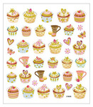 Tea Time Glittered Multi Color Stickers