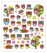Big Eyed Owl Glittered Multi Color Stickers