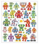 Robots Mulit Color Foil Stickers