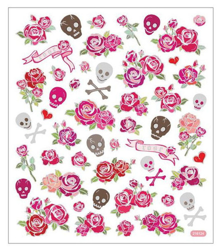 Roses & Skulls Multi Color Foil Stickers