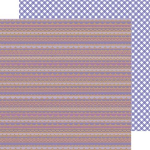 Lilac Scallop - Gingham Paper - Kraft In Color - Doodlebug