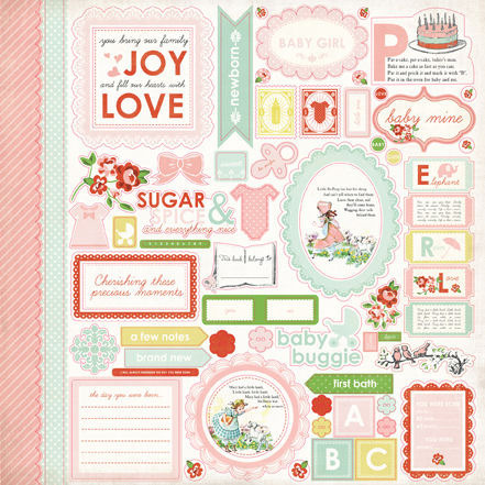 Baby Mine Girl Sticker Sheet - Carta Bella
