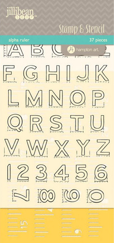 Alpha Ruler - Jillibean Clear Stamp & Stencil Set