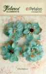 Teal Burlap Blossoms - Textured Elements - Petaloo