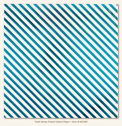 Teal Stripe Foiled Vellum Paper - Necessities - My Minds Eye
