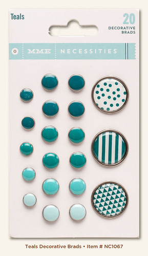 Teal Decorative Brads - Necessities - My Minds Eye