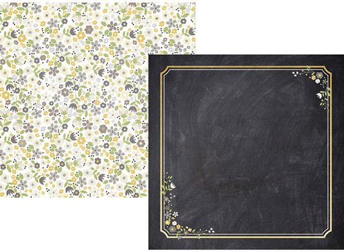 Chalkboard Flowers Paper - The Story Of Us - Simple Stories