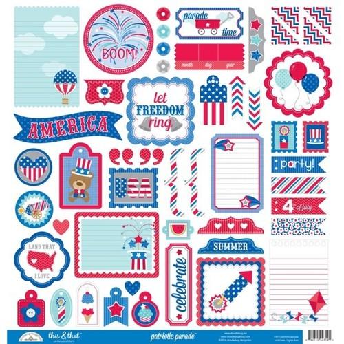 Patriotic Parade This & That Sticker Sheet - Doodlebug