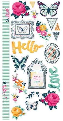 Inked Rose Embossed Stickers - We R Memory Keepers