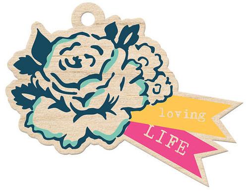 Loving Life Wood Tag - Inked Rose - We R Memory Keepers