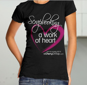 Scrapbooking V-Neck Tee Shirt, Size Medium