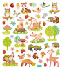 Friendly Forest Pets Gold Glitter Accented Stickers