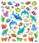 Sea Creatures Glitter Accented Stickers